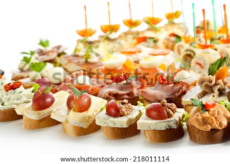 Canapes Isolated on White Background - stock photo
