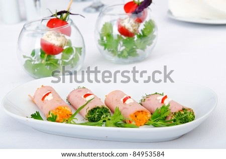 Canapes served in the plate - stock photo