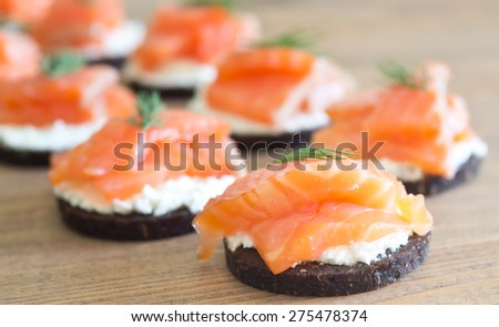 canapes with soft cheese and red fish