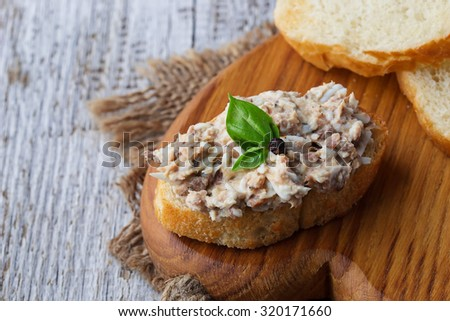 Canapes with tuna salad. Selective focus - stock photo
