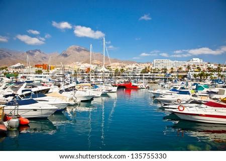 Canary Charter Yacht Club in Costa Adeje, Tenerife, Spain. - stock photo