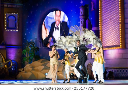 CANARY ISLAND, SPAIN - FEBRUARY 20, 2015: Actor Arturo Valls (m) television host performing as drag queen during city of Las Palmas carnival One Thousand and One Nights Drag Queen Gala. - stock photo