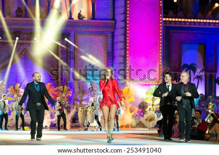 CANARY ISLAND, SPAIN - FEBRUARY 13, 2015: Armonia Show from Canary Island performing onstage during city of Las Palmas carnival One Thousand and One Nights Queens Gala show. - stock photo