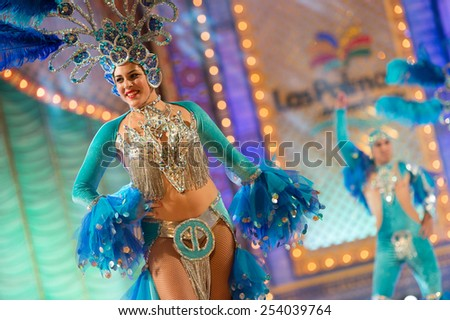 CANARY ISLAND, SPAIN - FEBRUARY 17, 2015: Baracoa who got 2nd premie during this year carnival performing onstage during city of Las Palmas carnival Body Painting Contest. - stock photo