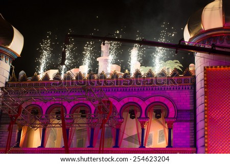 CANARY ISLAND, SPAIN - FEBRUARY 20, 2015: Detail from the Carnival stage design with fireworks during city of Las Palmas carnival One Thousand and One Nights Drag Queen Gala - stock photo