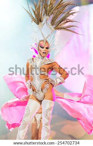 CANARY ISLAND, SPAIN - FEBRUARY 20, 2015: Drag Acrux with costume from designer Nauzet Afonso and Sebastian Betancor performing onstage during city of Las Palmas carnival Drag Queen Gala. - stock photo