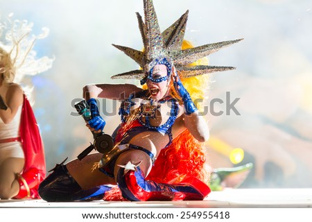 CANARY ISLAND, SPAIN - FEBRUARY 20, 2015: Drag Dafne del Giorgio as hot and horny welder with costume from designer Dimas Trujillo performing onstage during city of Las Palmas carnival Drag Queen Gala - stock photo