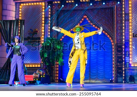 CANARY ISLAND, SPAIN - FEBRUARY 20, 2015: Drag Gio costume from designer Raico Santana and Sebastian Betancor and unidentified assistants performing onstage during Las Palmas carnival Drag Queen Gala. - stock photo