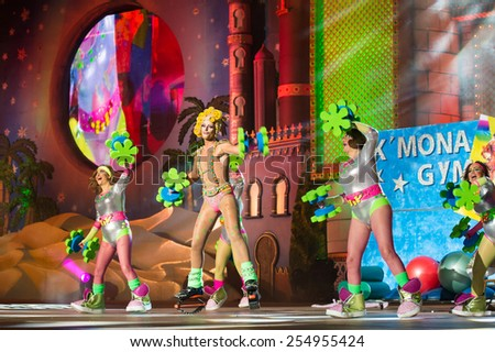 CANARY ISLAND, SPAIN - FEBRUARY 20, 2015: Drag La K Mona (m) and unidentified assistants performing onstage during city of Las Palmas carnival Drag Queen Gala. - stock photo