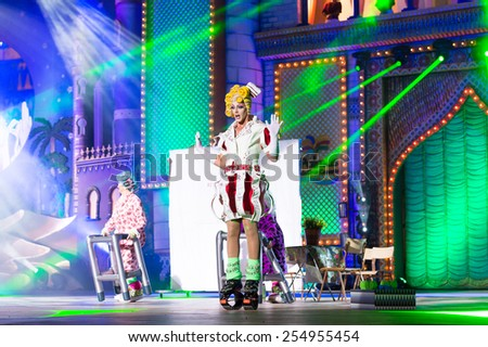 CANARY ISLAND, SPAIN - FEBRUARY 20, 2015: Drag La K Mona with costume from designer Yaciera Jurado and Grimanessa Durcal performing onstage during city of Las Palmas carnival Drag Queen Gala. - stock photo