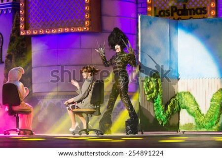 CANARY ISLAND, SPAIN - FEBRUARY 20, 2015: Drag Mulciber (m) as Edward Scissorhands with  costume from designer Nauzet afonso performing onstage during city of Las Palmas carnival Drag Queen Gala. - stock photo