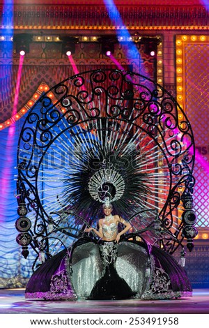 CANARY ISLAND, SPAIN - FEBRUARY 13, 2015: Yanira Falcon Santana onstage with costume from designer Julio Vicente Artiles during Las Palmas carnival One Thousand and One Nights Queens Gala show. - stock photo