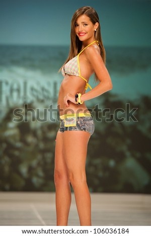 CANARY ISLANDS -JUNE 23: An unidentified model walks the runway in the Gabriel Croissier collection during Gran Canaria Moda Calida swimwear fashion show on June 23, 2012 in Canary Islands, Spain - stock photo