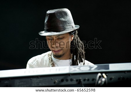CANARY ISLANDS - NOVEMBER 13: Pianist Samuel Yirga (Sammi) from UK performs onstage during Womad in Las Palmas November 13, 2010 in Canary Islands, Spain