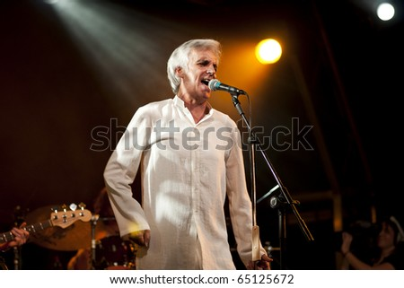 CANARY ISLANDS - NOVEMBER 11: Singer and Guitarist Kiko Veneno from Spain performing onstage during Womad in Las Palmas on November 11, 2010 in Canary Islands, Spain - stock photo