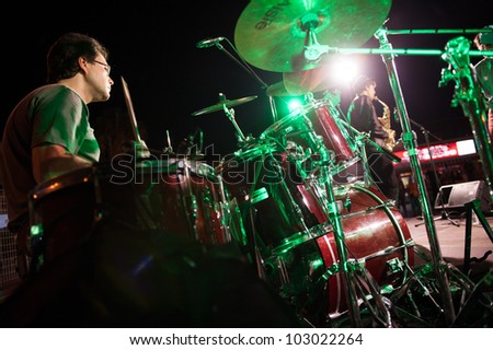 CANARY ISLANDS, SPAIN MAY 18: Luismi Fernandez drummer in The Mars Cats, from Gran Canaria, perform onstage during Condenados Rock on May 18, 2012 in Canary Islands, Spain - stock photo