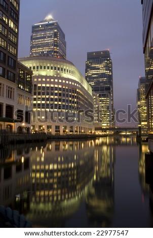 Canary Wharf at night. - stock photo