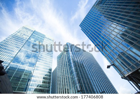 Canary Wharf financial district in London. - stock photo