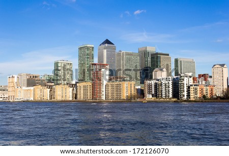 Canary Wharf from the West During the Day - stock photo