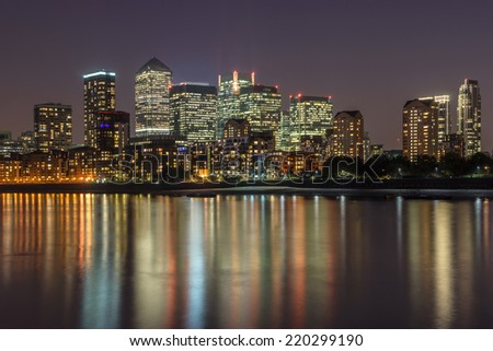 Canary Wharf in the city of London - stock photo