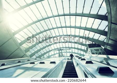 Canary Wharf metro Station, London, England, UK  - stock photo