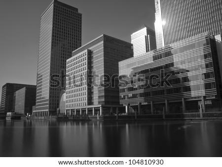 canary wharf skyline - stock photo