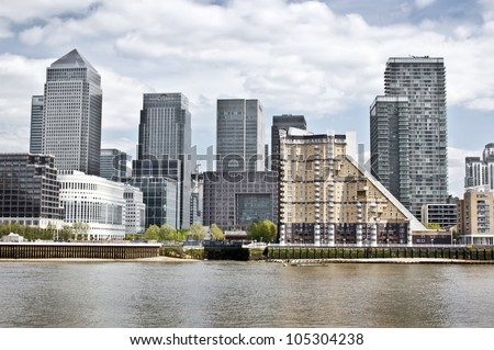 Canary Wharf Skyline from the Thames, London - stock photo