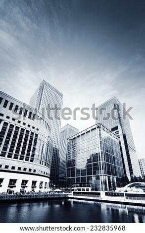 Canary Wharf skyscrapers, London - stock photo