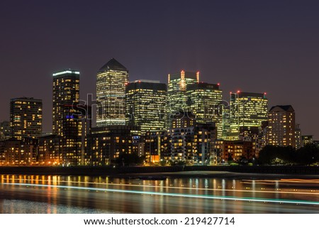 Canary wharf the financial centre of the UK - stock photo