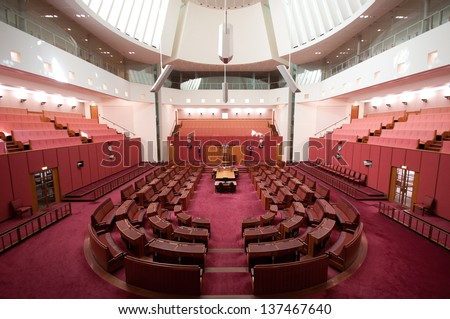 CANBERRA - APR 12: Inside Senate, the upper house of the bicameral Parliament of Australia. April 12th, 2013 Canberra Australia - stock photo