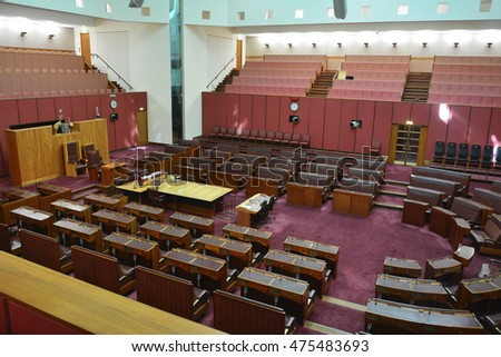 CANBERRA, AUSTRALIA - DECEMBER 29, 2015. Interior view of the Senate chamber of Australian Parliament House in Canberra, ACT, with furniture.