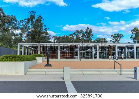 CANBERRA, AUSTRALIA - MAR 25: Cafeteria building at Australian War Memorial on Mar 25, 2015 in Canberra. It's Australia's national memorial to the members of its armed forces who have died in wars. - stock photo