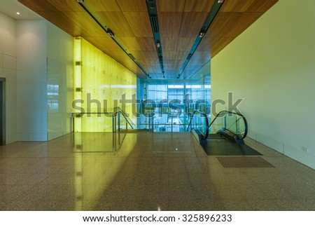 CANBERRA, AUSTRALIA - MAR 22: Interior of Canberra International Airport on Mar 22, 2015 in Canberra. It's the airport serving Australia's capital city, the nearby city of Queanbeyan, NSW