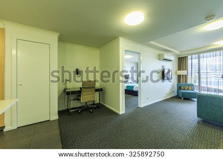 CANBERRA, AUSTRALIA - MAR 22: Room interior of Hotel Clifton Suits on Mar 22, 2015 in Canberra. It's a 4.5-star aparthotel which close proximity of Canberra Museum and Gallery and Civic Square.