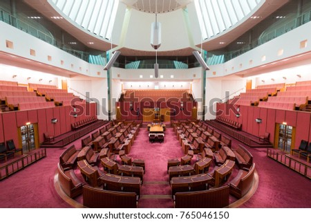 CANBERRA, AUSTRALIA - OCTOBER 14, 2017: A view inside Senate chamber in Parliament House