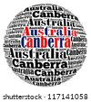 Canberra capital city of Australia info-text graphics and arrangement concept on white background (word cloud) - stock photo