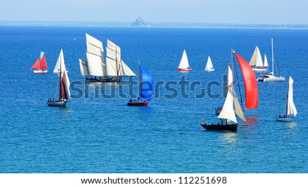 CANCALE,FRANCE-AUGUST12:Sailing Regatta with 'Bisquines'.August 31,1845,was the first regatta at Cancale against each other were Bisquines and other types of ships;August 12, 2012 in Cancale, France - stock photo