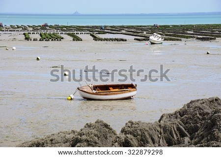 CANCALE, FRANCE -4 JULY 2015- View of oyster farms in the Atlantic Ocean in Cancale on the Baie du Mont Saint Michel, in the Brittany region of Western France.