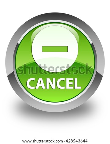 Cancel glossy green round button - stock photo