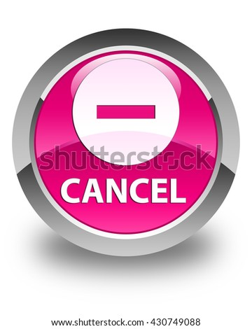 Cancel glossy pink round button - stock photo