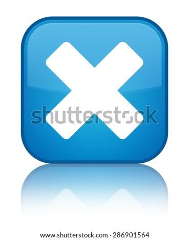 Cancel icon cyan blue square button - stock photo