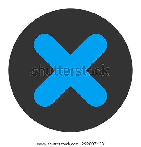 Cancel icon from Primitive Round Buttons OverColor Set. This round flat button is drawn with blue and gray colors on a white background. - stock photo