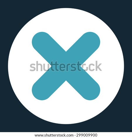 Cancel icon from Primitive Round Buttons OverColor Set. This round flat button is drawn with blue and white colors on a dark blue background. - stock photo