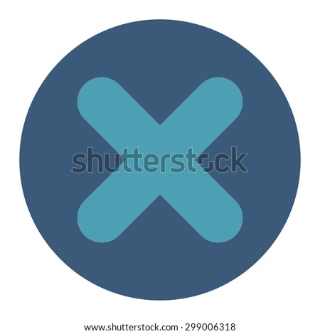 Cancel icon from Primitive Round Buttons OverColor Set. This round flat button is drawn with cyan and blue colors on a white background. - stock photo