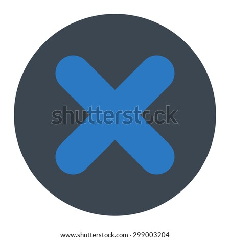Cancel icon from Primitive Round Buttons OverColor Set. This round flat button is drawn with smooth blue colors on a white background. - stock photo