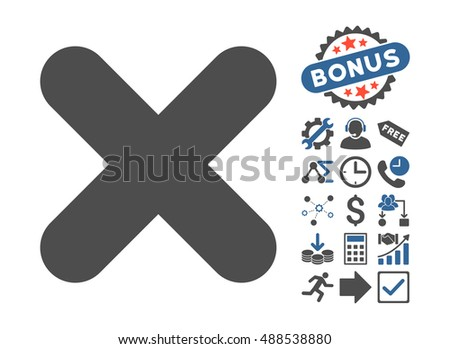 Cancel icon with bonus design elements. Glyph illustration style is flat iconic bicolor symbols, cobalt and gray colors, white background.