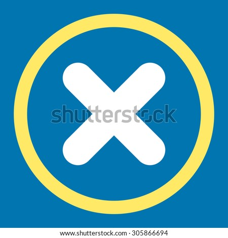 Cancel raster icon. This rounded flat symbol is drawn with yellow and white colors on a blue background. - stock photo