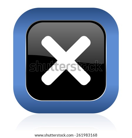 cancel square glossy icon x sign