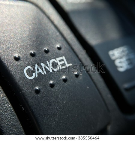Cancel switch on the steering whee. - stock photo