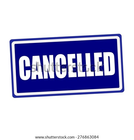 Cancelled white stamp text on blue background - stock photo